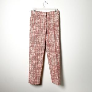 H&M Tweed Red and White Woven Trousers Pants